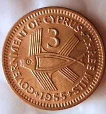 1955 CYPRUS 3 MILS - AU - Great Vintage Coin - Free Shipping - BIN #FFF