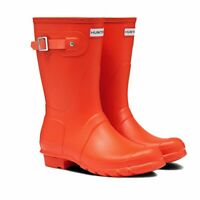 LADIES ORIGINAL SHORT HUNTER ORANGE WELLIES WELLINGTON WALKING BOOTS SIZE 3
