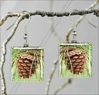 PINECONE #1 SQUARE GLASS CABOCHON EARRINGS -kr65z