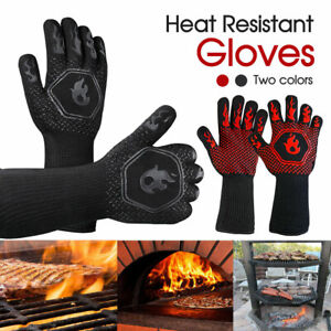 2x800°C Heat Proof Resistant Oven BBQ Gloves Kitchen Cooking Silicone Mitt NEW