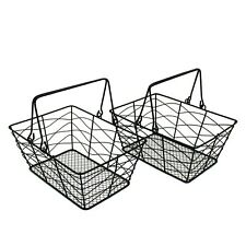 Metal Wire Fruit Baskets Gathering Baskets with Handle Country Storage Baskets