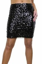 Sequin Sparkle All Over Stretch Mini Skirt Black NEW 6-14