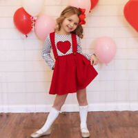 Toddler Kids Baby Girls Valentine Dot Heart-shaped Top Suspender Skirt Outfits