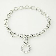 "Mix & Match 8 1/4"" or 21cm SILVER CLIP-ON CHARM LINK CARRIER BRACELET  TW07"