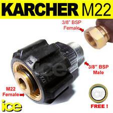 "M22F x 3/8""BSPM HIGH PRESSURE HOSE SCREW THREADED ADAPTOR COUPLING CONNECTOR"