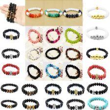Männer Frauen Armreif Buddha Perlen Armband Natürlicher Lavastein