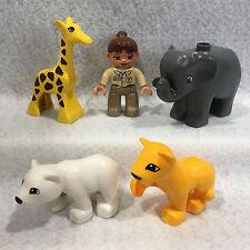 Lego Duplo Zoo - Girl Zookeeper, Baby Giraffe, Elephant, Lion Cub & Polar Bear