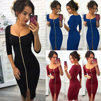 Women Deep V Neck Bodycon Front Zip Cocktail Ladies Party Pencil Midi Dress Sexy
