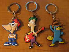 (3) PHINEAS and FERB Keychains Key Chain PVC Perry the Platypus