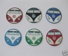 12 PRE CUT VW KOMBI EDIBLE RICE WAFER PAPER CARD BIRTHDAY PARTY CUPCAKE TOPPERS