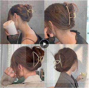 2021 New Women Elegant Gold Silver Hollow Geometric Metal Hair Claw Vintage Hair