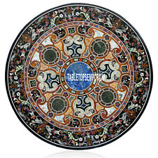 """48"""" Marble Dining Table Top Marquetry Inlay Gemstones Arts Decorative Furniture"""