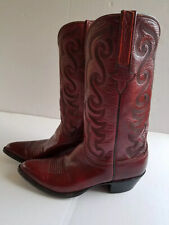 LUCCHESE  Mens Burgundy Leather Hand Made Boots Size 9B