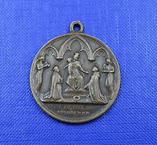 alte Bronze Medaille, Königin des heiligsten Rosenkranzes 19.Jahrh.Frankreich