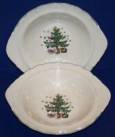 "LOVELY PAIR OF NIKKO HAPPY HOLIDAYS HANDLED VEGETABLE SERVING 11 1/4"" BOWLS"