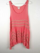 Intimately Free People Voile and Lace Trapeze Slip Pink Womens Small