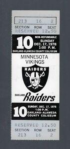 STABLER & TARKENTON FINAL GAME - VINTAGE 1978 NFL VIKINGS @ RAIDERS FULL TICKET