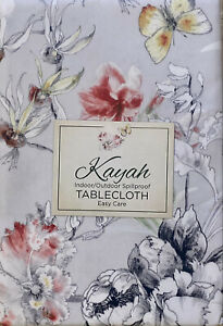 """Kayah  Grey Floral Butterfly Dragonfly Tablecloth 70"""" Round Indoor / Outdoor"""