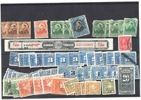 CANADA PACKED REVENUE STAMPS COLLECTION LOT CANCELS x62 HIDDEN VALUE