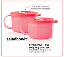 TUPPERWARE CRYSTALWAVE PLUS SOUP MUG PAIR Watermelon Microwavable Mug w/Handle