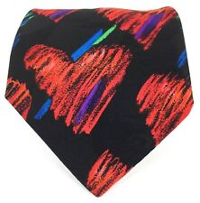 "Fratelli Men's Short Tie Abstract Heart Red Blue Green Purple Black 54 1/4"" L"