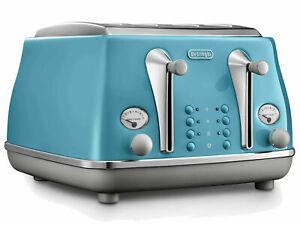 DeLonghi Icona Capitals CTOC4003.AZ 4 Slice Toaster Lisbon Azure