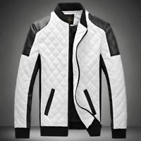 Men baseball PU Leather Slim Jacket Fit Biker Motorcycle Jacket Coat Outwear new