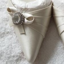BENJAMIN ADAMS uk6 - Micro Kitten Heel - WHITE Satin Ankle Strap Crystals eu39