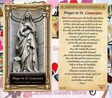 St. Genevieve with Prayer to Saint Genevieve - Glossy Paperstock Holy Card