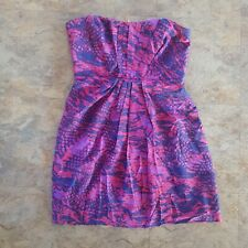 Saba Size 12 Silk Red and Purple Strapless Party Cocktail Dress