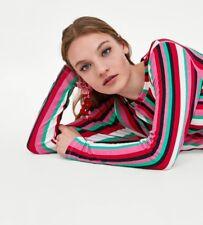 Zara Summer Holiday Gathered Multicolour Strip Long Dress UK Large BNWT Free P&P