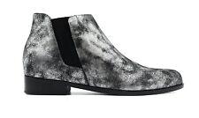 GIUSEPPE ZANOTTI Silver Metallic Italian Nubuc Leather Daddy Ankle Boot IT 40.5