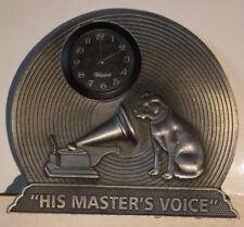 VINTAGE RCA VICTOR - NIPPER - HIS MASTER'S VOICE - METAL DESK CLOCK ADVERTISING