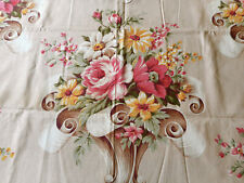 Antique Vintage Floral Roses Scroll Cotton Fabric ~ Pink Brown Yellow Sage