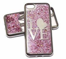 For iPhone 7 / 8 SILVER LOVE Pink Glitter Stars Liquid Water Sparkle Case Cover