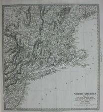 NORTH AMERICA VI, MASSACHUSETTS, VERMONT, MAINE, original antique map, SDUK 1844