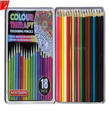 Professional Premium 18 Colouring Pencils Artists Quality Colour Therapy in Tin