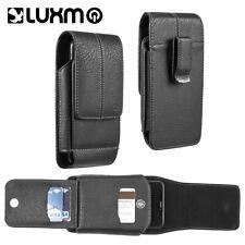 Leather Belt Clip Mens Pouch Holster Holder Vertical Black With Wallet Card Slot