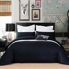 New 650TC 100% Cotton Sateen Black Stripe Duvet Quilt Doona Cover Set S D Q K SK