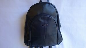 Ladies Soft Leather Back Pack Three Zipped Pocket with Adjustable Strap Black