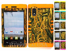 Hybrid Silicone Cover Case for LG Optimus Extreme L40g / L5 - Camo Mossy 11