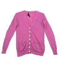 Ralph Lauren Sport Linen Blend V Neck Cardigan M Medium Pink Button Front *READ*