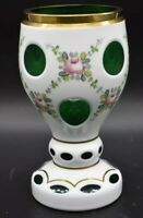 """Moser Czech Cased White To Green Pink Roses & Gold Hand Painted 6 1/2"""" Goblet"""