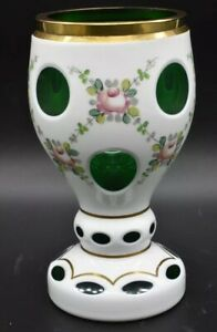 "Moser Czech Cased White To Green Pink Roses & Gold Hand Painted 6 1/2"" Goblet"