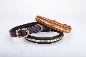 Strong Solid brass clincher leather dog collar, lined and padded.