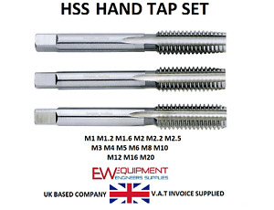 HSS Hand Tap 3 x  Set ( Taper) 2nd (Plug) 3rd (Bottoming) M1 - M12