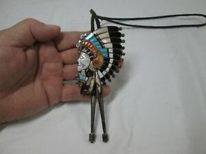 """VERY NICE ORIGINAL ZUNI INLAY INDIAN CHIEF BOLO TIE 3 1/2"""" TALL WITH DRUM TIPS"""