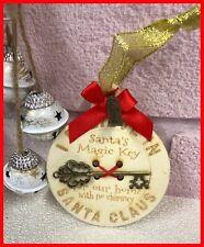 Personalised Magic Santa Key Wooden Christmas Tree Ornament Xmas Gift
