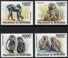 PRIMATES & APES (Monkey/Chimpanzee/Baboon/Colobus) Stamp Set (2011 Burundi)