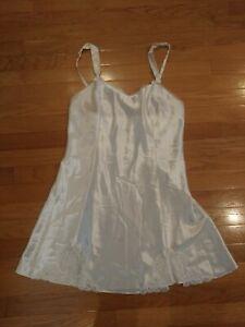 Vintage Lingerie Cacique Satin Slip Dress Ivory Women's Size Medium M Lace